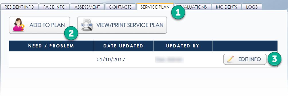 Service Plan steps 1-3