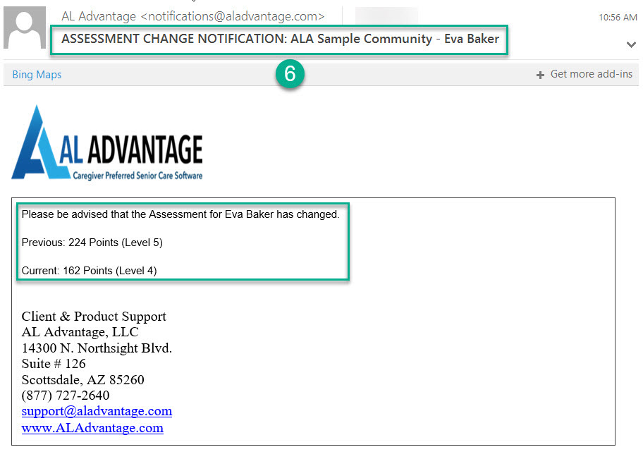 AL Advantage Assessment Change Notification email example
