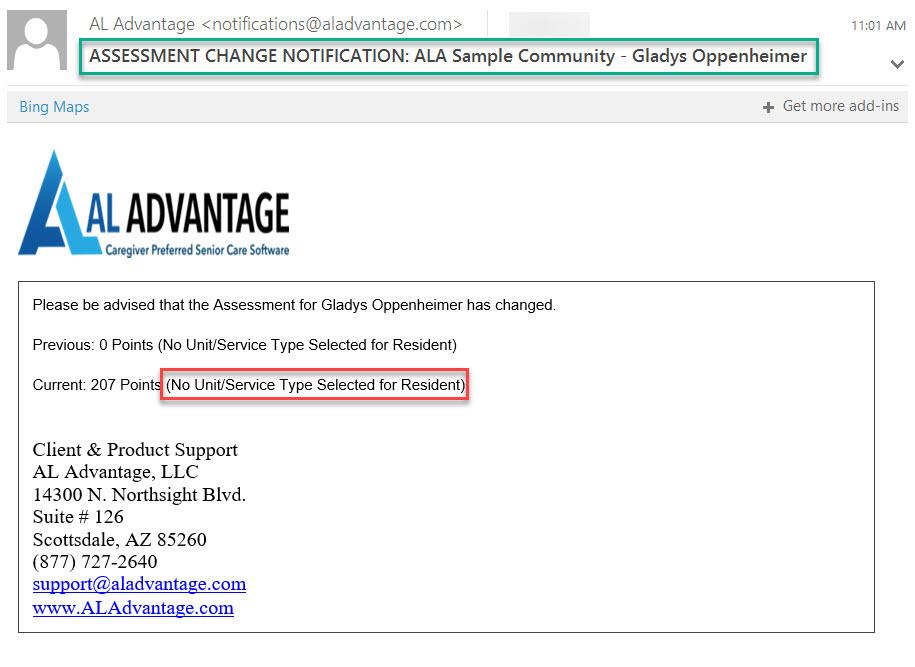 AL Advantage - No Unit Service Type email sample
