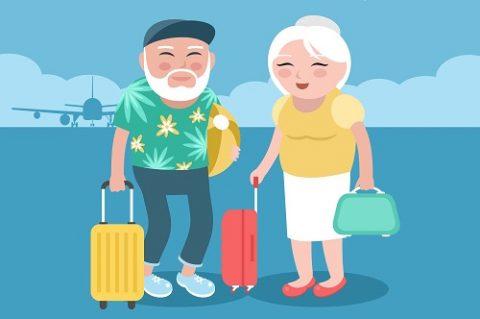 Senior citizens with suitcases