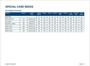 AL Advantage Special Care Needs Report