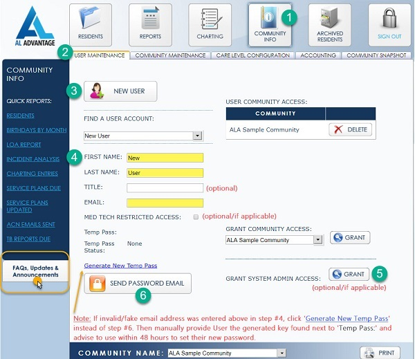 AL Advantage - Add a new user - New