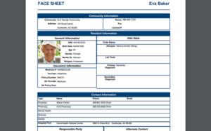 AL Advantage Resident Face Sheet