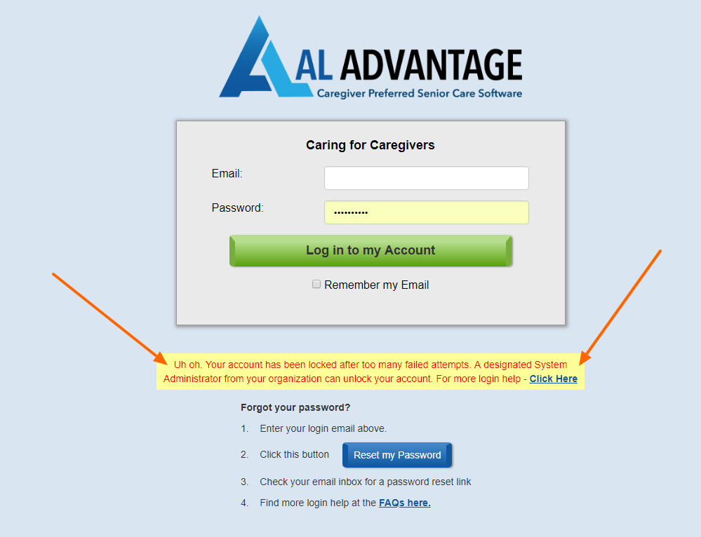 AL Advantage Locked out Error Message