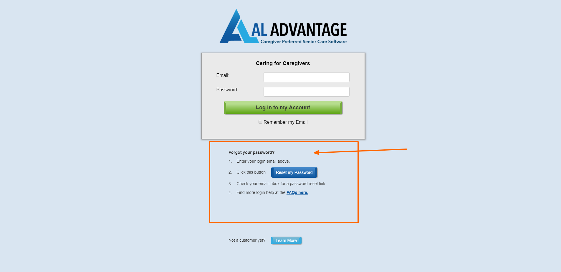 AL Advantage Login - Forgot Your Password Section