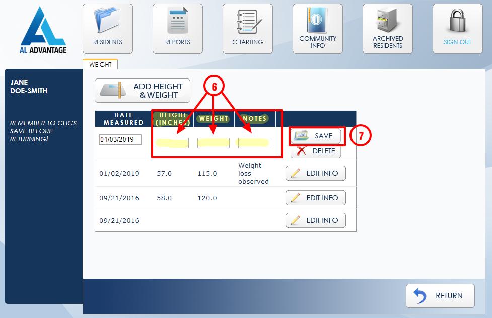 AL Advantage Software Height Weight Screen