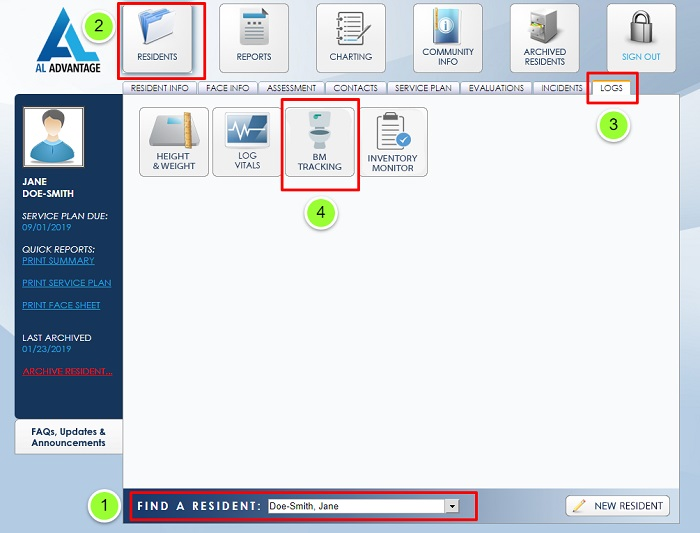 AL Advantage Assited Living Software BM Tracking Screenshot